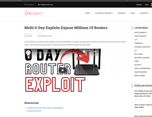 Multi 0-Day Exploits Expose Millions Of Routers