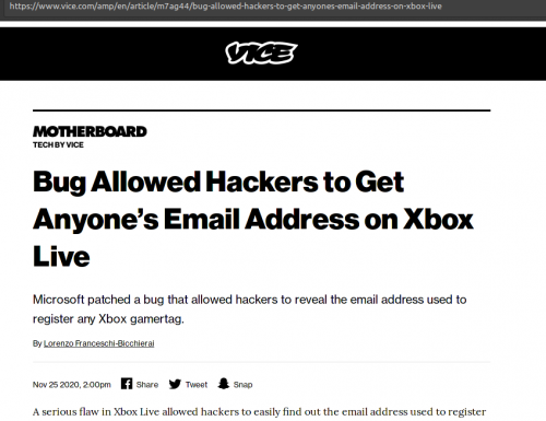 Bug Allowed Hackers to Get Anyone's Email Address on Xbox Live