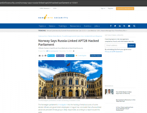 Norway Says Russia-Linked APT28 Hacked Parliament